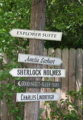 Close up of directional signs on the property pointing the way to the rooms