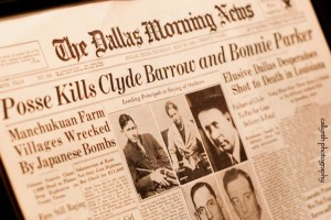 Dallas Morning News with headline article about the death of Bonnie & Clyde