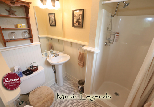 The upstairs bathroom associated with the Music legends Room