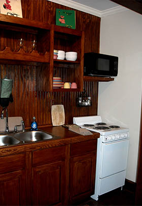 Kitchen with wooden countertops and walls