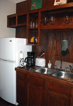 Double sink surrounded by countertops, walls, and cabinets all of wood