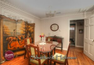 Sherlock Holmes Dining Room with table with four chairs and side table