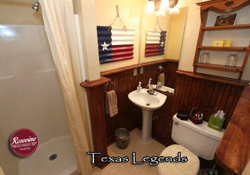 Texas Legends Bathroom with wood beadboard, texas flag and walk in shower