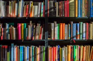 Books of various colors on Shelf