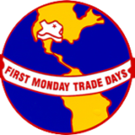 globe image says First Monday Trade Days