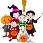 6 children dressed on costume for Halloween with 3 jack o lanterns