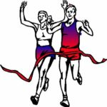 man and woman at the finish line of a run clip art