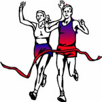 Clip art of man and women running to the finish line