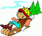 snow kid sledding clip art
