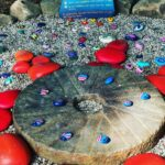painted rocks-some painted as ladybugs